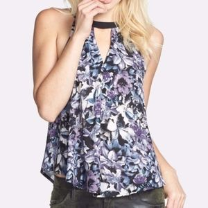 ASTR Floral Print Cutout Tank Purple Blue Black